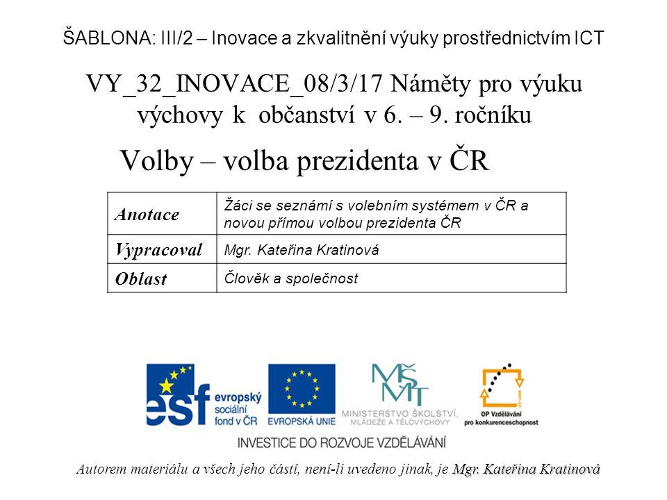 Volby – volba prezidenta v ČR