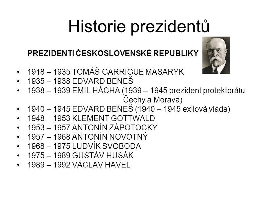 Historie prezidentů PREZIDENTI ČESKOSLOVENSKÉ REPUBLIKY