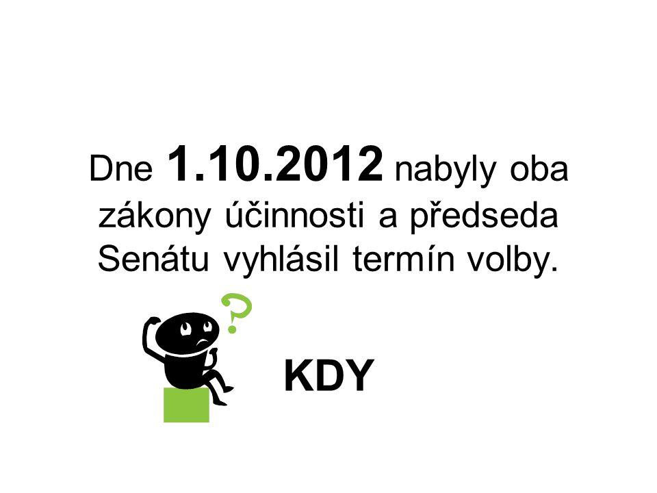 Dne 1.10.2012 nabyly oba zákony účinnosti a předseda Senátu vyhlásil termín volby.