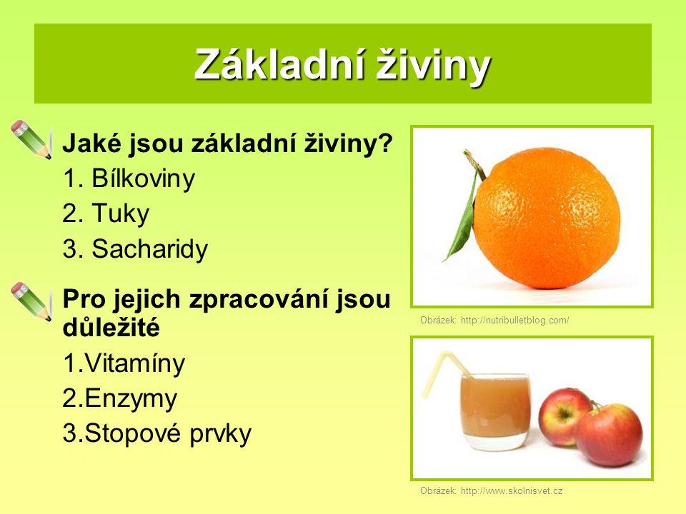 Základní živiny Jaké jsou základní živiny 1. Bílkoviny 2. Tuky
