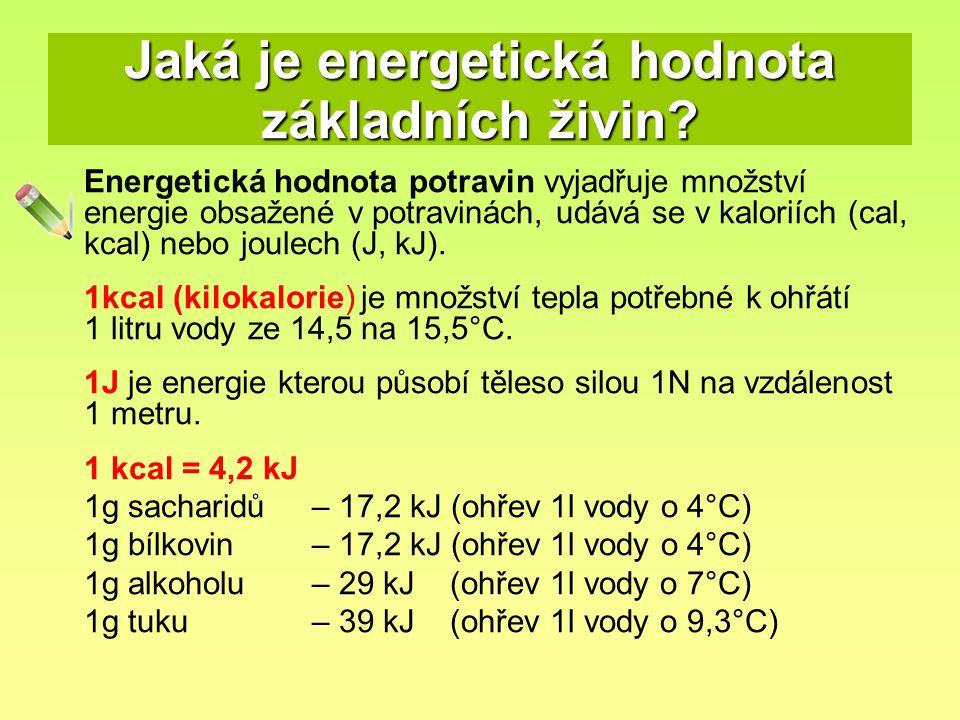 Jaká je energetická hodnota základních živin