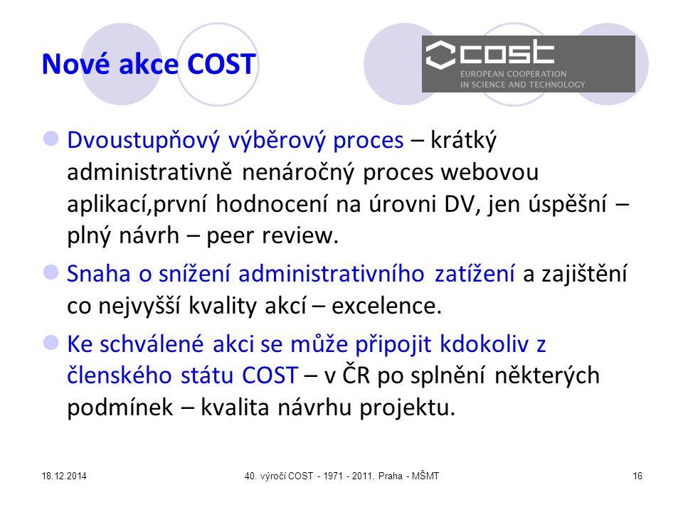 40. výročí COST - 1971 - 2011, Praha - MŠMT