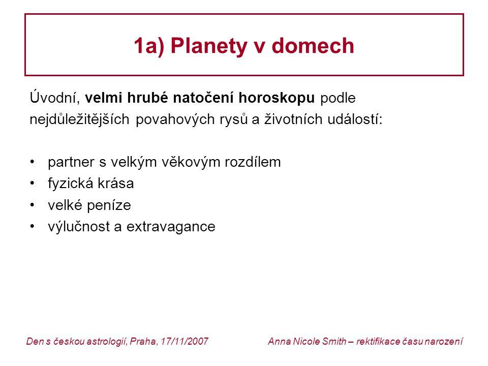 1a) Planety v domech Úvodní, velmi hrubé natočení horoskopu podle