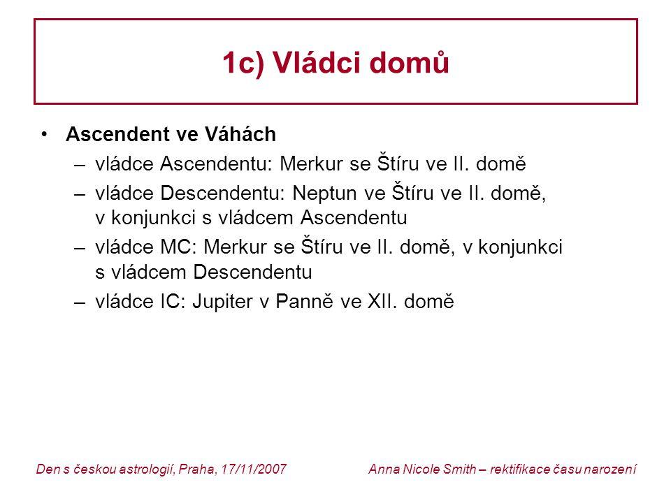 1c) Vládci domů Ascendent ve Váhách
