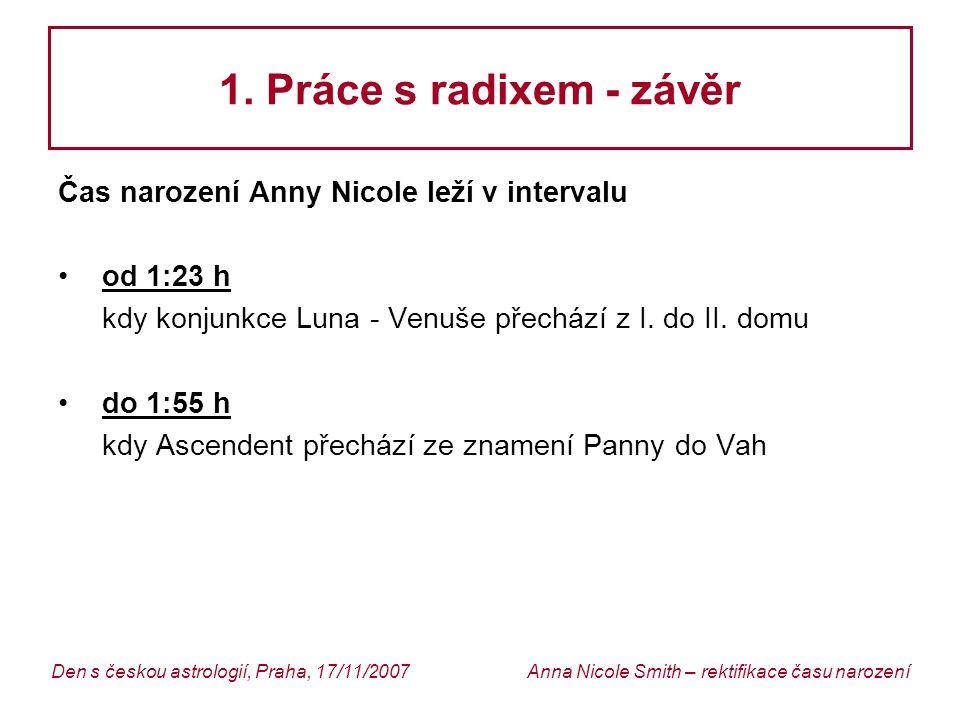 1. Práce s radixem - závěr Čas narození Anny Nicole leží v intervalu