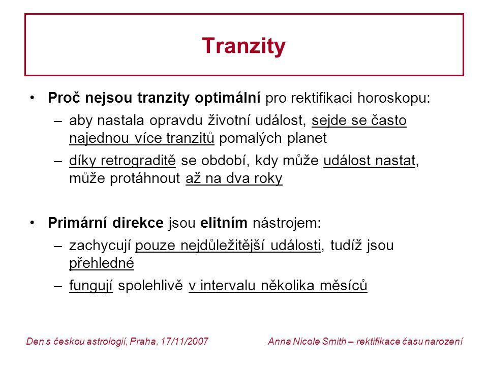 Tranzity Proč nejsou tranzity optimální pro rektifikaci horoskopu: