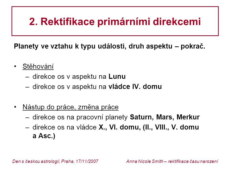 2. Rektifikace primárními direkcemi