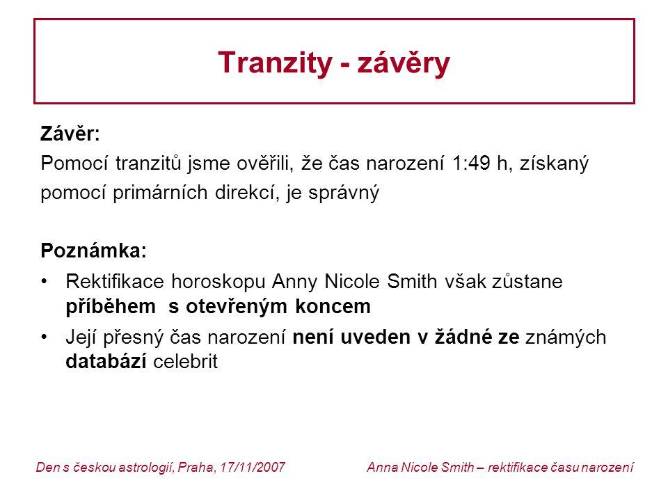 Tranzity - závěry Závěr: