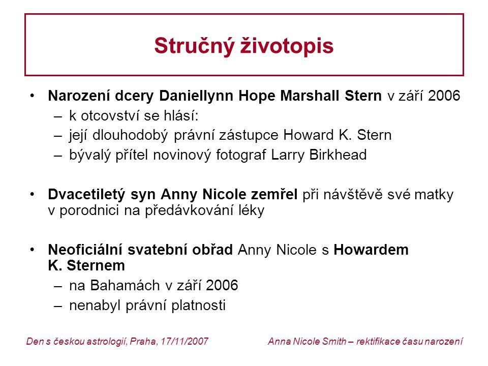 Stručný životopis Narození dcery Daniellynn Hope Marshall Stern v září 2006. k otcovství se hlásí: