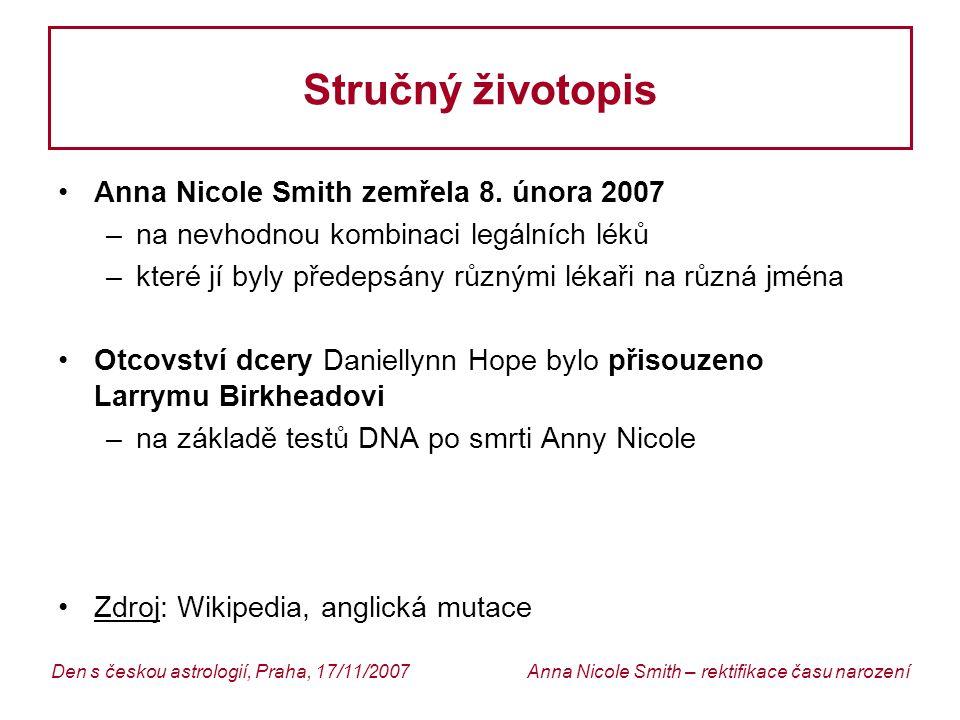 Stručný životopis Anna Nicole Smith zemřela 8. února 2007
