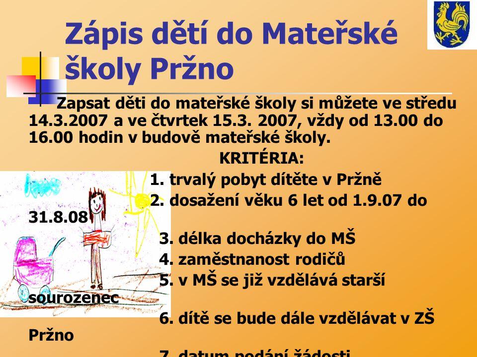Zápis dětí do Mateřské školy Pržno