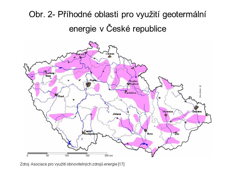 Obr. 2- Příhodné oblasti pro využití geotermální energie v České republice