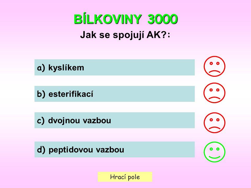 BÍLKOVINY 3000 Jak se spojují AK : a) kyslíkem b) esterifikací