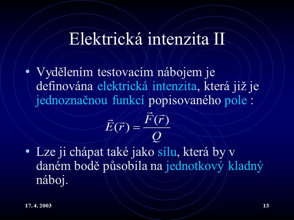 Elektrická intenzita II