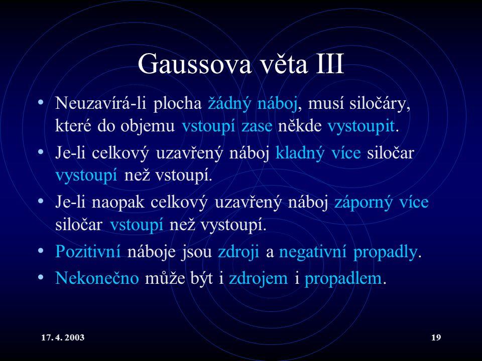 Gaussova věta III Neuzavírá-li plocha žádný náboj, musí siločáry, které do objemu vstoupí zase někde vystoupit.