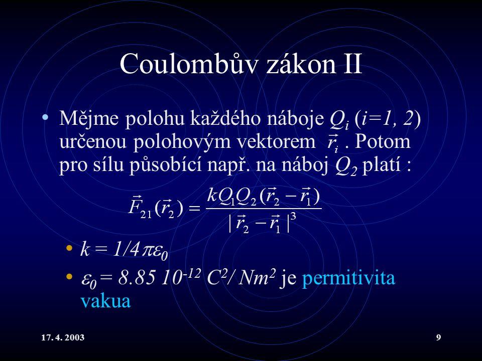Coulombův zákon II Mějme polohu každého náboje Qi (i=1, 2) určenou polohovým vektorem . Potom pro sílu působící např. na náboj Q2 platí :