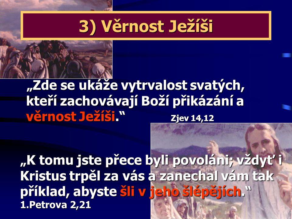 """3) Věrnost Ježíši """"Zde se ukáže vytrvalost svatých, kteří zachovávají Boží přikázání a věrnost Ježíši. Zjev 14,12."""