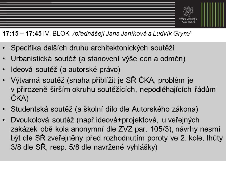 17:15 – 17:45 IV. BLOK /přednášejí Jana Janíková a Ludvík Grym/