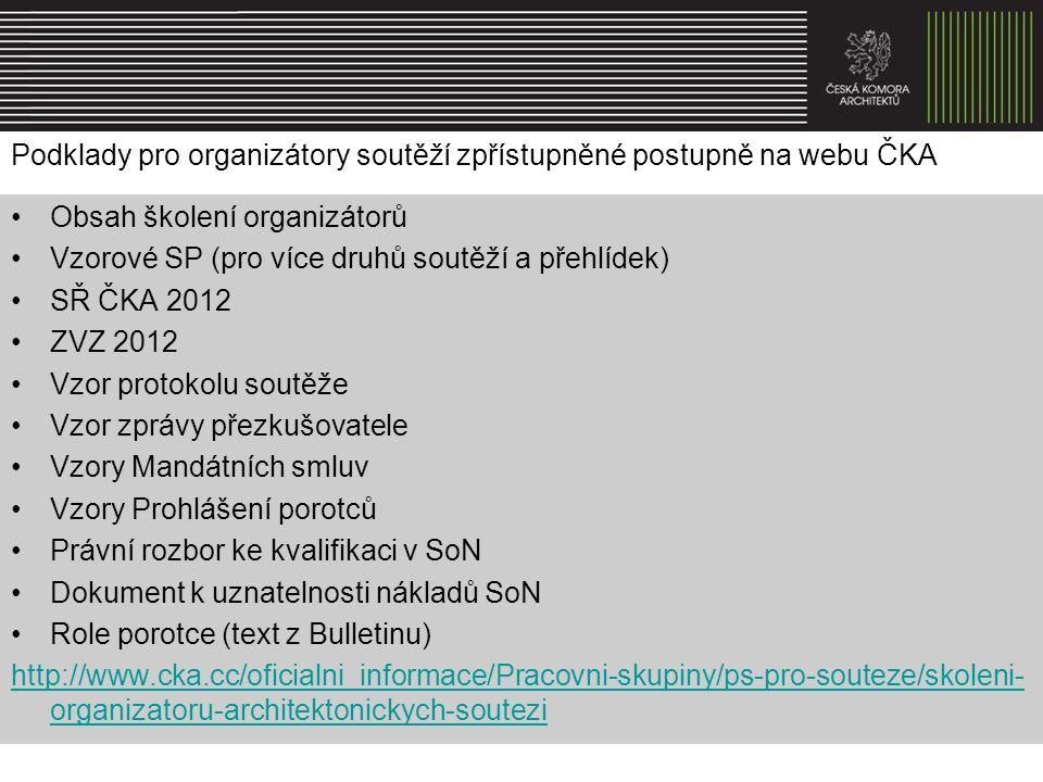 Podklady pro organizátory soutěží zpřístupněné postupně na webu ČKA