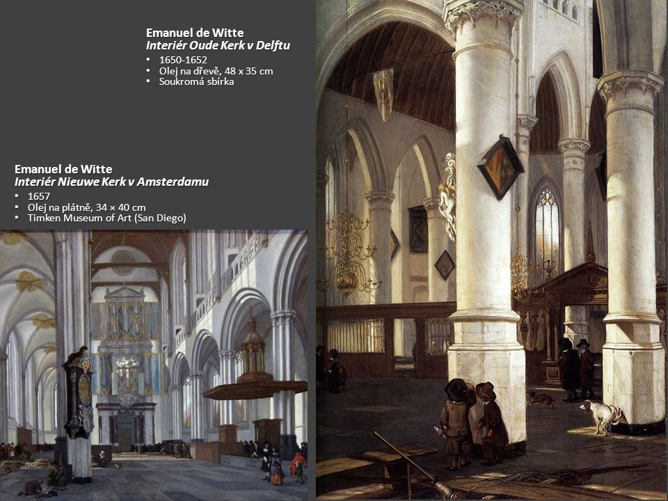 Interiér Oude Kerk v Delftu