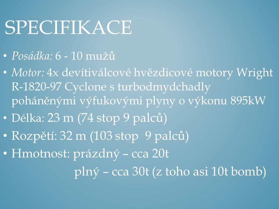 Specifikace Rozpětí: 32 m (103 stop 9 palců)