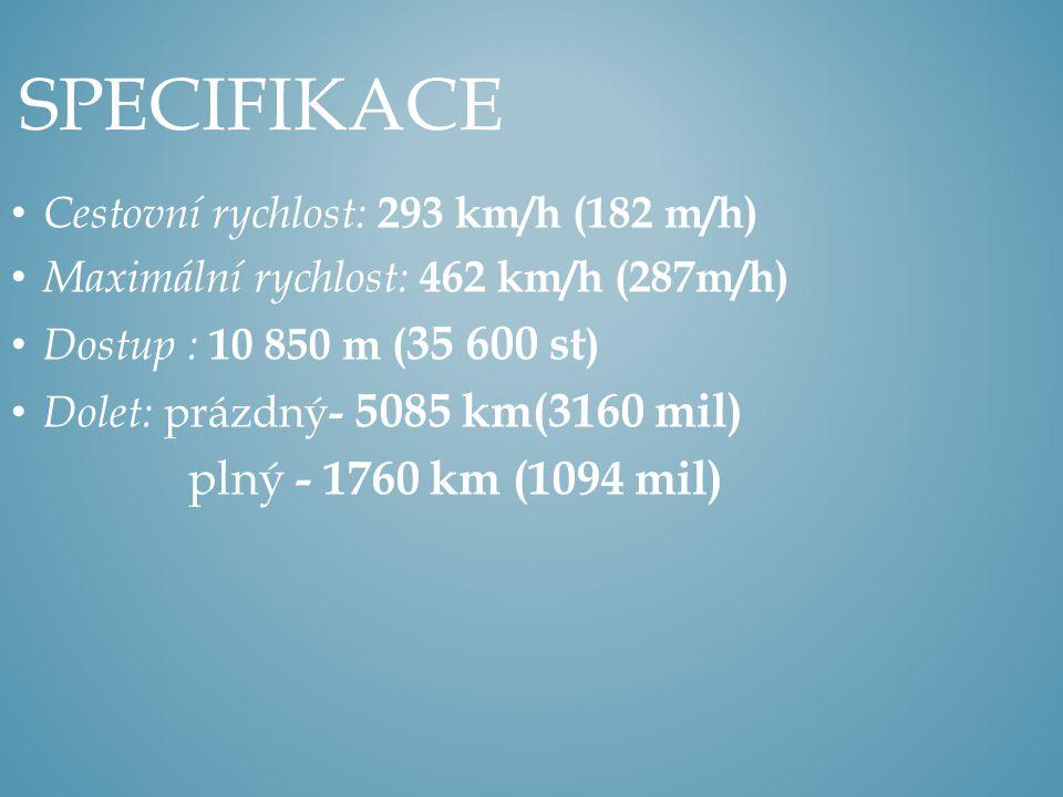 Specifikace plný - 1760 km (1094 mil)