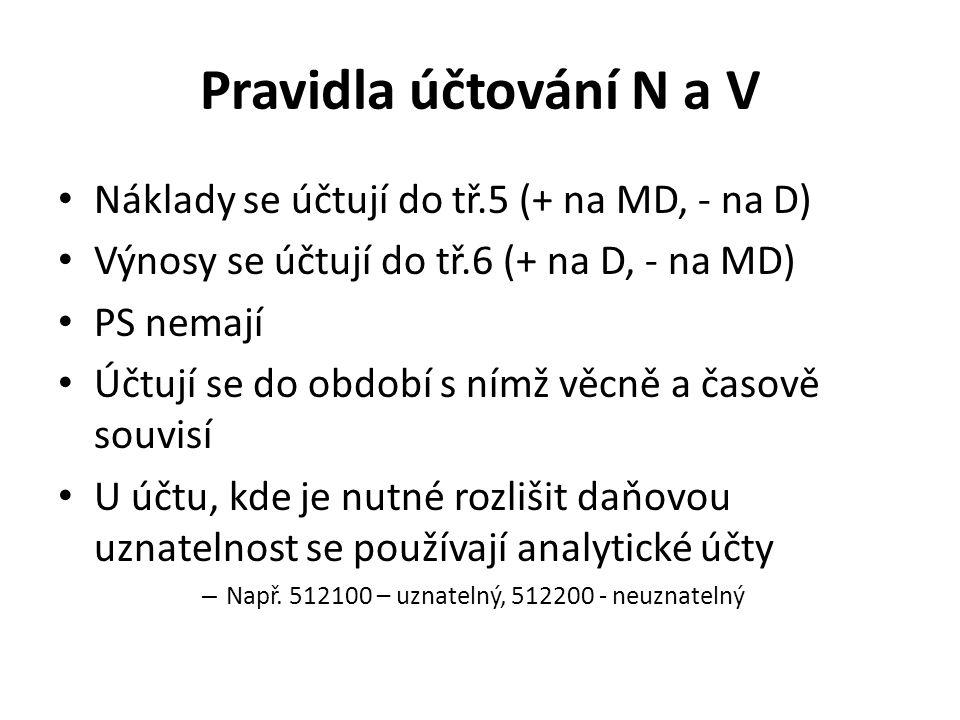 Pravidla účtování N a V Náklady se účtují do tř.5 (+ na MD, - na D)