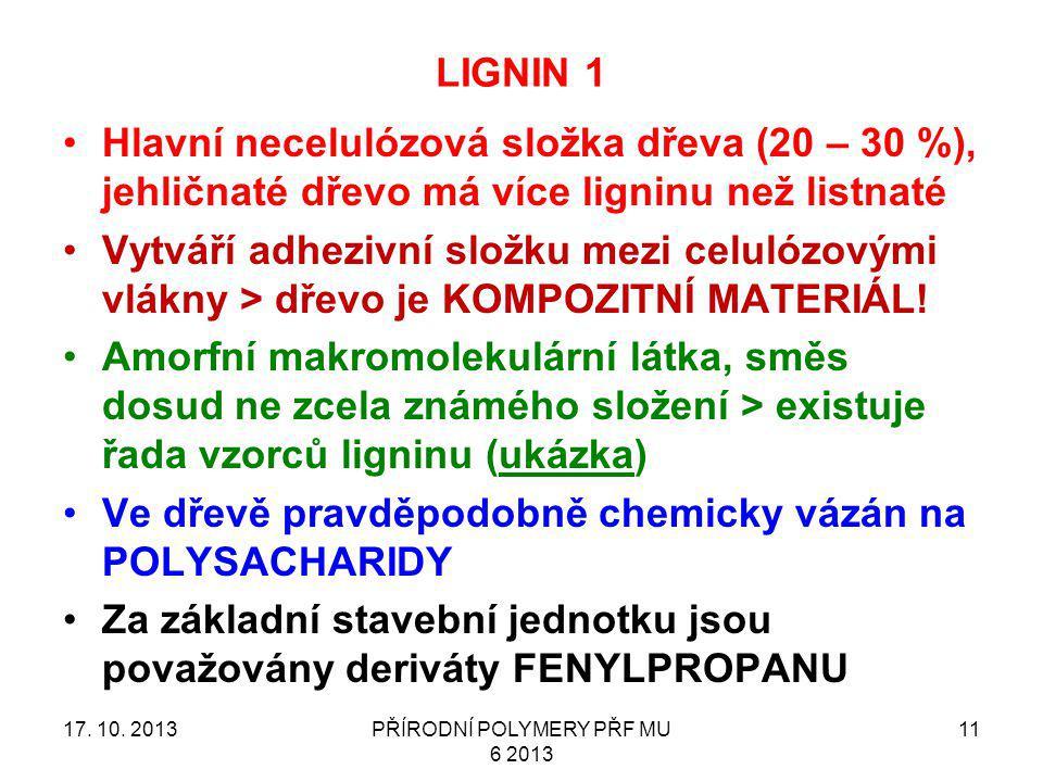 PŘÍRODNÍ POLYMERY PŘF MU 6 2013