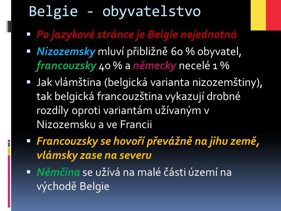 Belgie - obyvatelstvo Po jazykové stránce je Belgie nejednotná