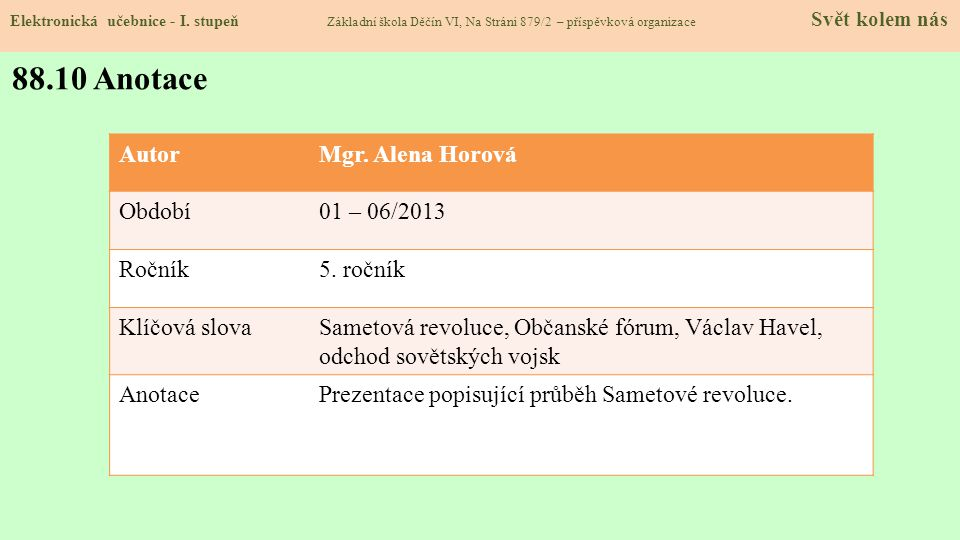 88.10 Anotace Autor Mgr. Alena Horová Období 01 – 06/2013 Ročník