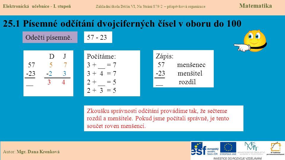 25.1 Písemné odčítání dvojciferných čísel v oboru do 100