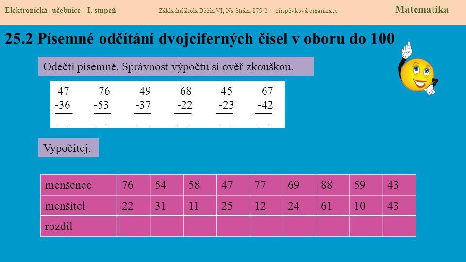 25.2 Písemné odčítání dvojciferných čísel v oboru do 100