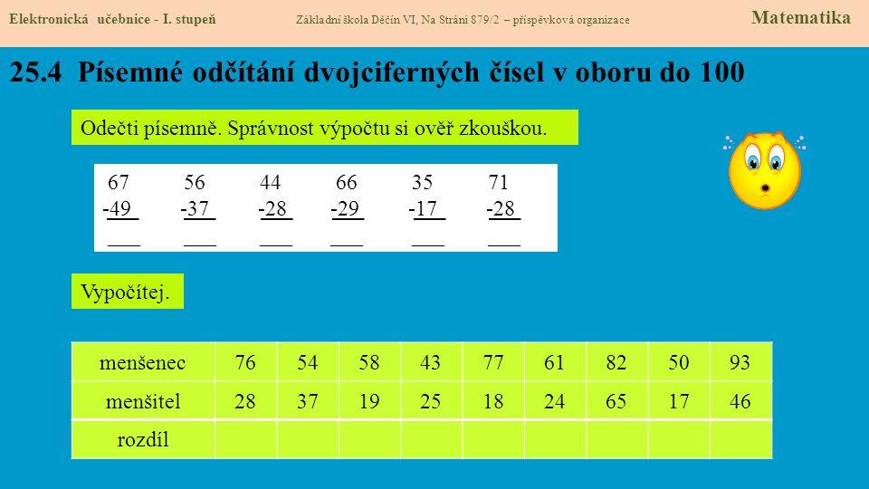 25.4 Písemné odčítání dvojciferných čísel v oboru do 100