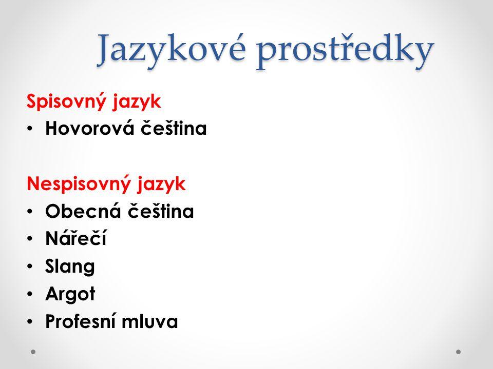 Jazykové prostředky Spisovný jazyk Hovorová čeština Nespisovný jazyk
