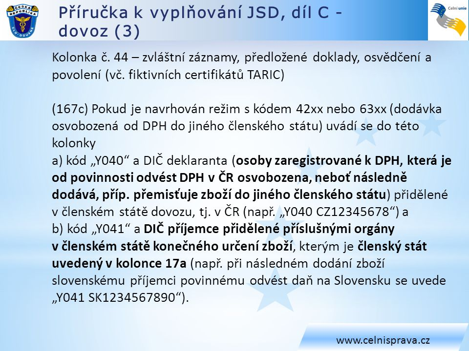 Příručka k vyplňování JSD, díl C - dovoz (3)
