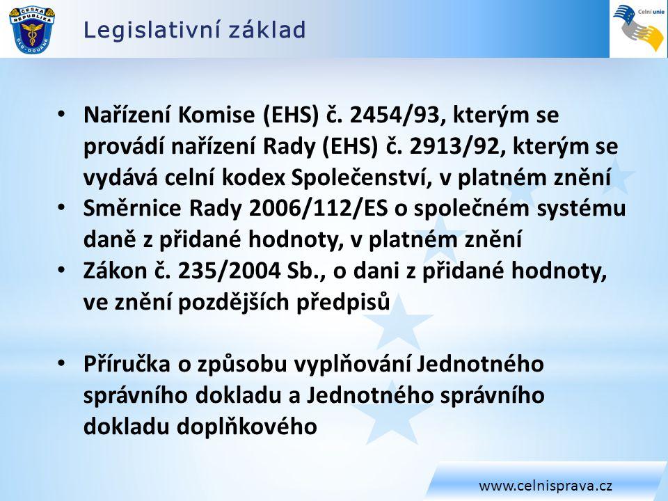 Legislativní základ www.celnisprava.cz.
