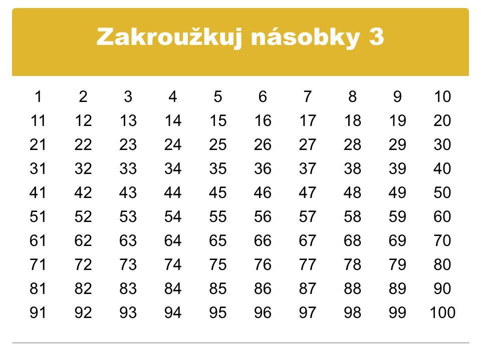Zakroužkuj násobky 3 1. 2. 3. 4. 5. 6. 7. 8. 9. 10. 11. 12. 13. 14. 15. 16. 17. 18.