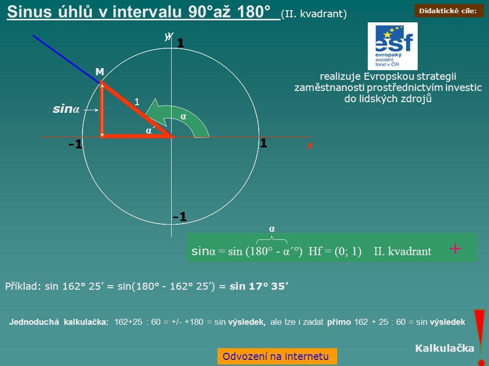 Sinus úhlů v intervalu 90°až 180° (II. kvadrant)