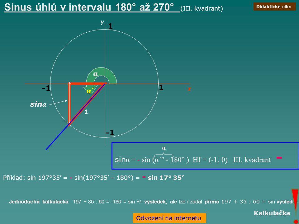 Sinus úhlů v intervalu 180° až 270° (III. kvadrant)