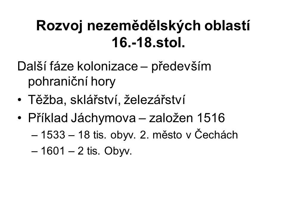 Rozvoj nezemědělských oblastí 16.-18.stol.