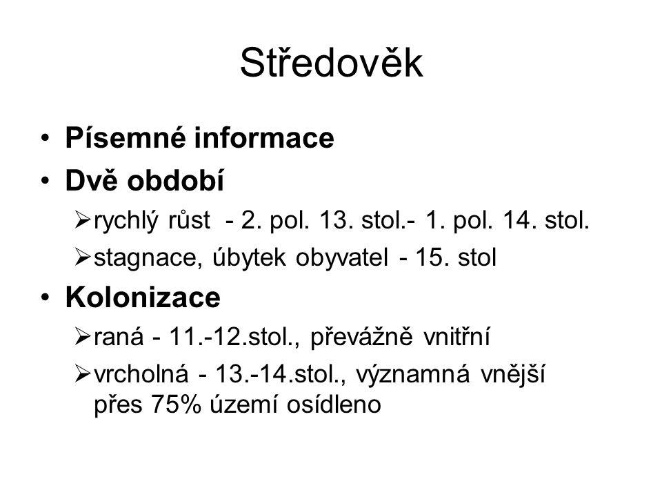 Středověk Písemné informace Dvě období Kolonizace
