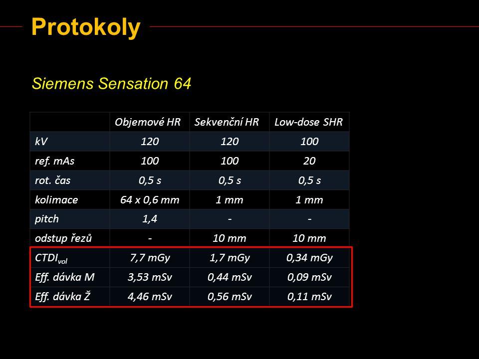 Protokoly Siemens Sensation 64 Objemové HR Sekvenční HR Low-dose SHR