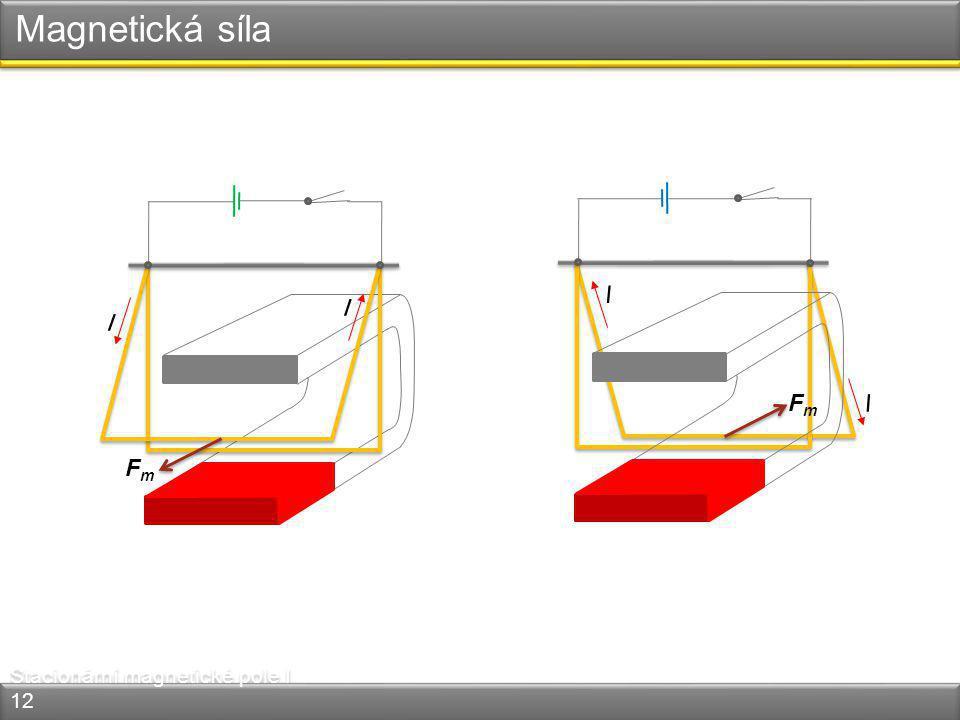 Magnetická síla I I I I Fm Fm Stacionární magnetické pole I 12