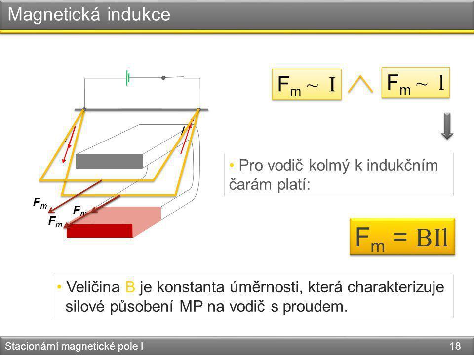Fm = BIl Fm ~ l Fm ~ I Magnetická indukce