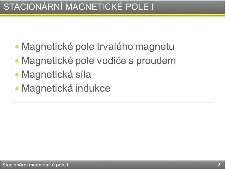 STACIONÁRNÍ MAGNETICKÉ POLE I