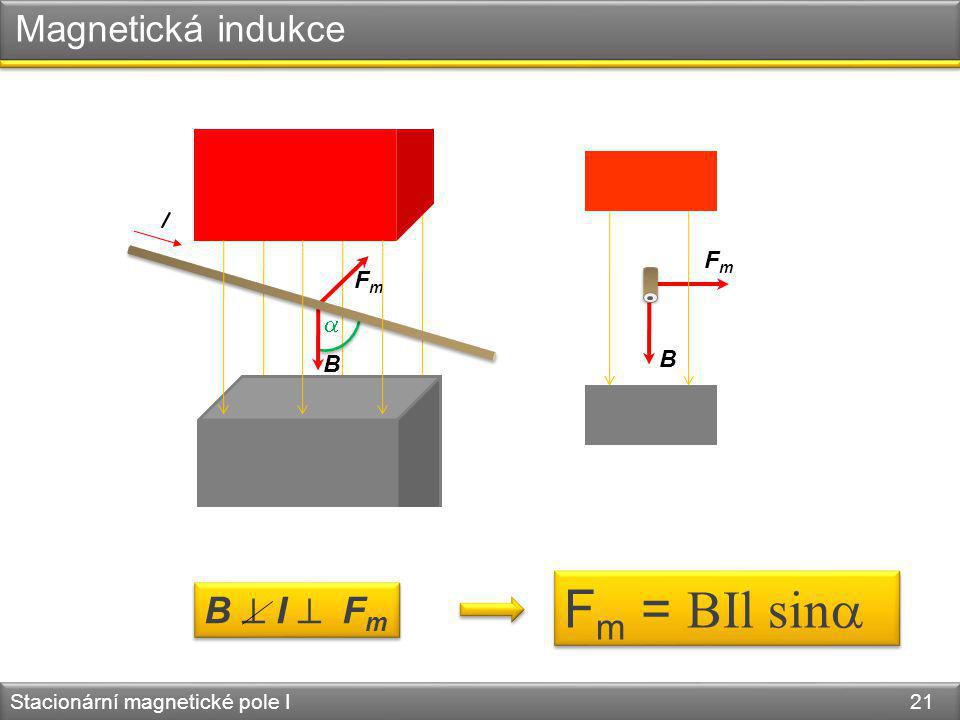 Fm = BIl sin Magnetická indukce B  I  Fm I Fm Fm  B B