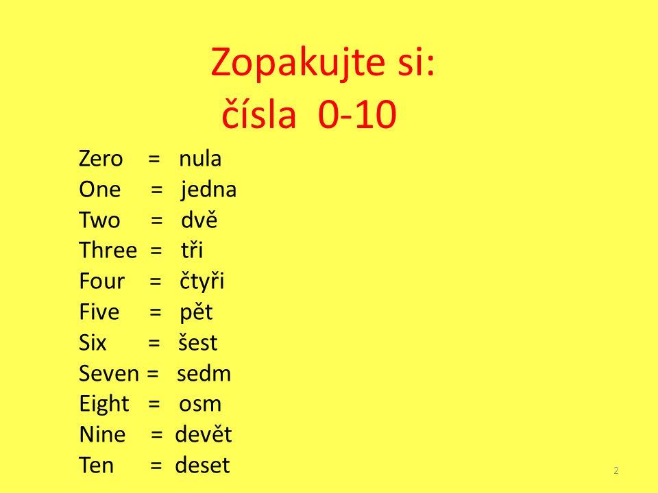 Zopakujte si: čísla 0-10 Zero = nula One = jedna Two = dvě Three = tři