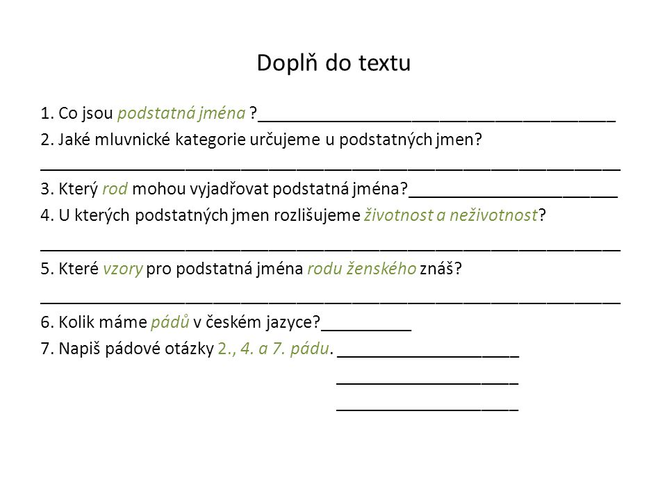 Doplň do textu