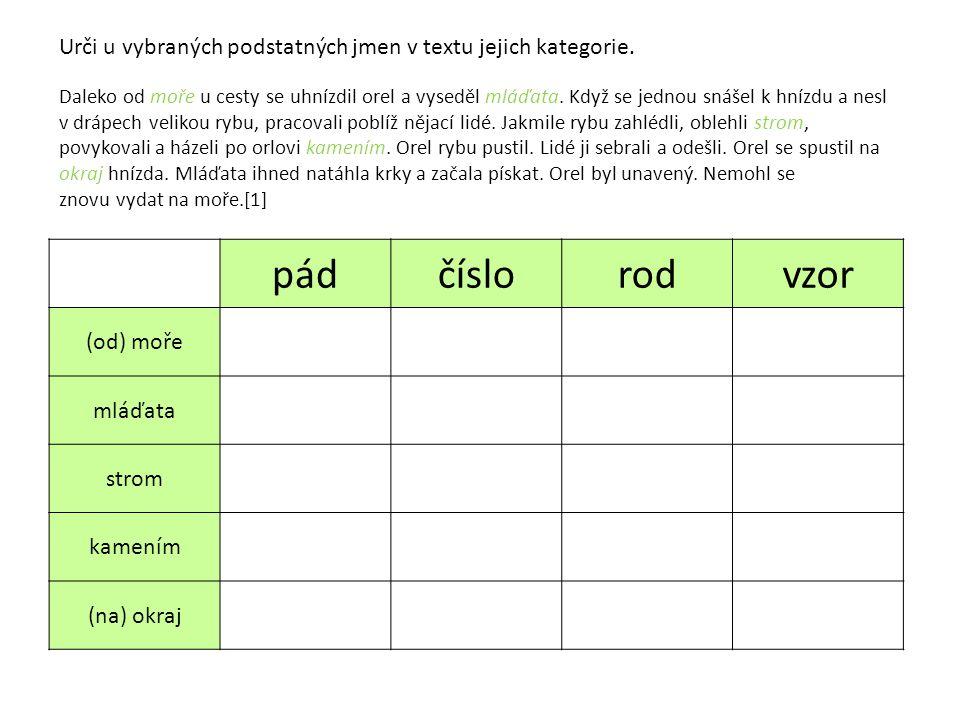 Urči u vybraných podstatných jmen v textu jejich kategorie