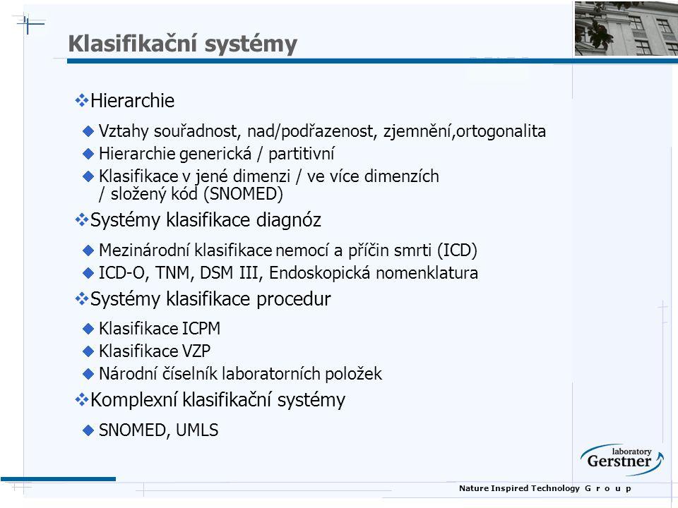 Klasifikační systémy Hierarchie Systémy klasifikace diagnóz